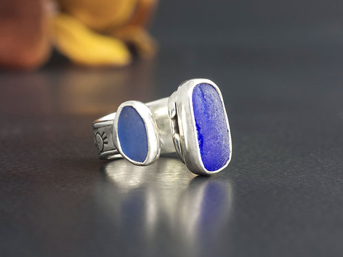 Sea Glass Silver Adjustable Ring Sz 5