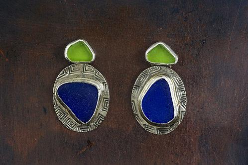 Sea Glass Silver Stud Earrings Cobalt Blue Green
