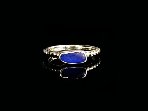 Tiny Cobalt Blue Bead on Band Ring