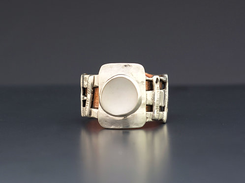 Silver and Copper Ring with White Sea Glass