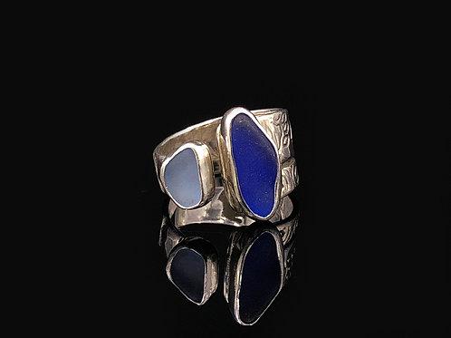 2 Blue Sea Glass Adjustable Ring