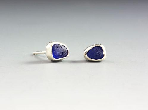 Cobalt Sea Glass Studs