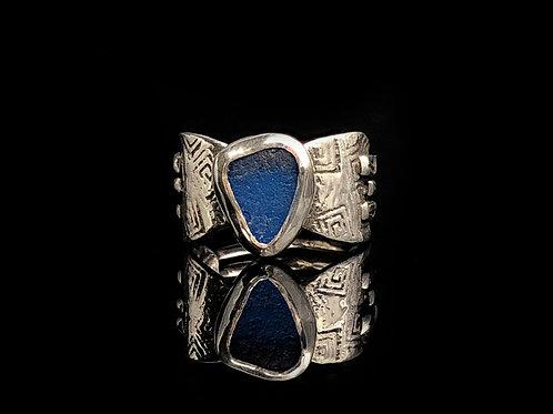 Sz 5 1/2 Dark Turquoise Sea Glass Ring