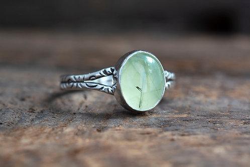 Prehnite Cabochon Silver Ring