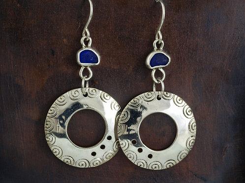 Sea Glass Silver Dangle Earrings Cobalt