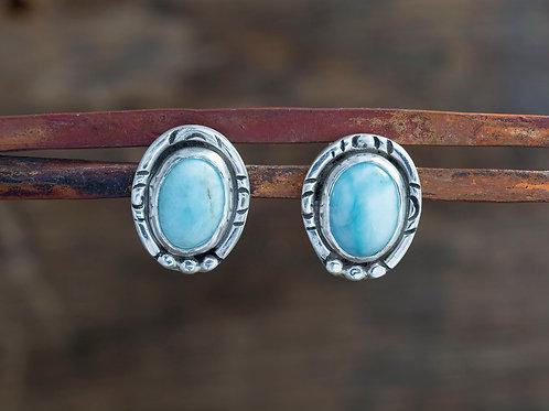 Larimar Stud Earrings