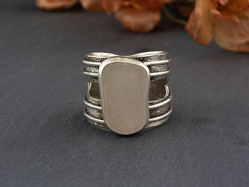 White Sea Glass Silver Ring Sz 10