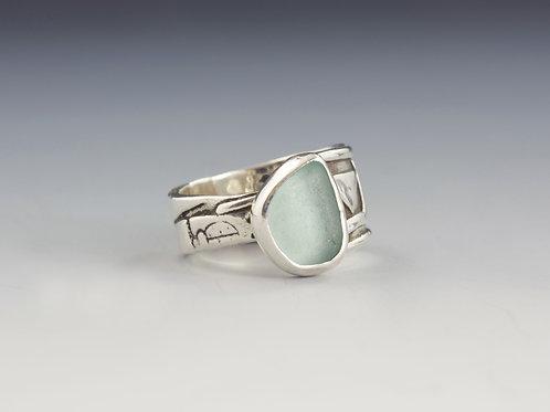 Aqua Sea Glass Ring