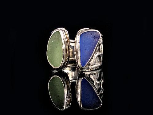 Sea Foam and Cobalt Blue Adjustable Ring