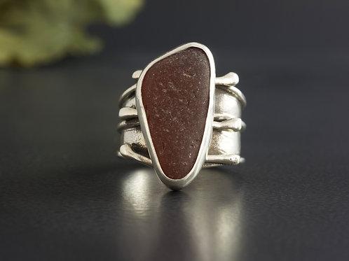 Sea Glass Silver Ring Brown Sz 9 1/2