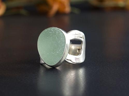 Sea Glass Silver Bezel Sea Foam Sz 6 1/2