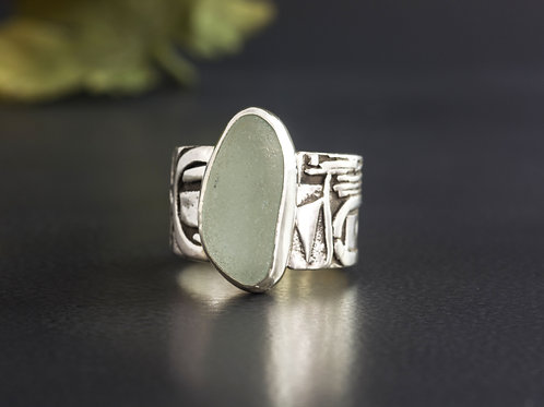 Sea Glass Silver Ring Sea Foam Sz 9 1/2