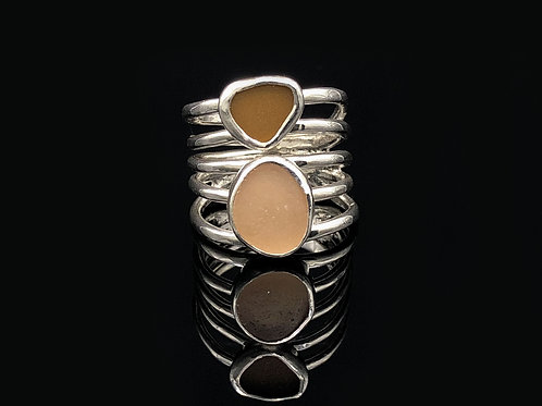Peach & Brown 5 wire wrap ring