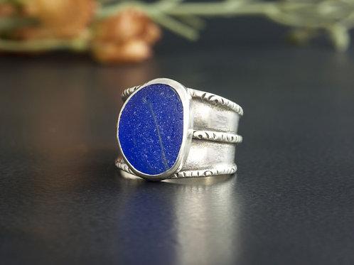 Sea Glass Silver Bezel Cobalt Blue Sz 6 1/2