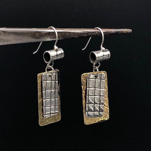 Silver and Brass Dangle Earrings