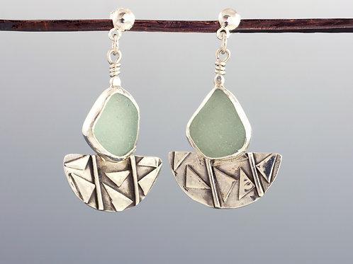 Sea Glass Silver Stud Dangle Earrings
