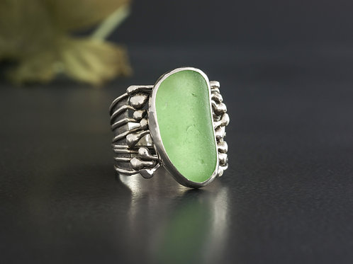 Sea Glass Silver Statement Ring Sea Foam Sz 7