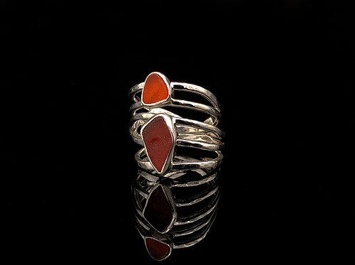 Red and Orange Sea Glass Ring