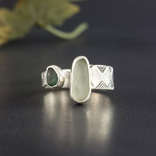 Sea Glass Silver Ring Adjustable Teal Sea Foam Sz 11