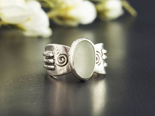 Sea Glass Silver Ring Sea Foam Sz 8 1/2