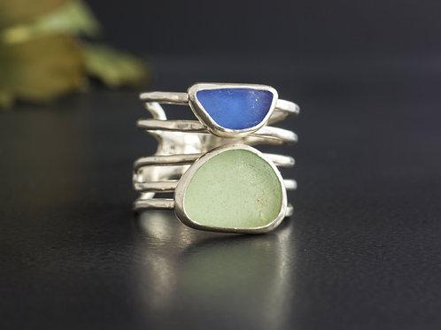 Sea Glass Silver Ring Sea Foam Cornflower Blue Sz 10