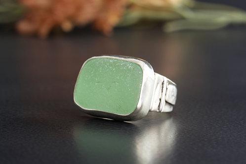 Sea Glass Silver Ring Bezel Sea Foam Sz 7 1/2