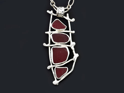 Red Sea Glass Ladder Necklace