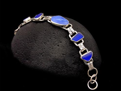 5 Blue Sea Glass Settings Bracelet