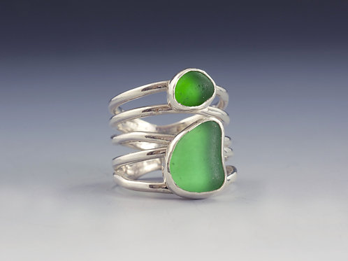 Green Sea Glass 5 wire wrap ring