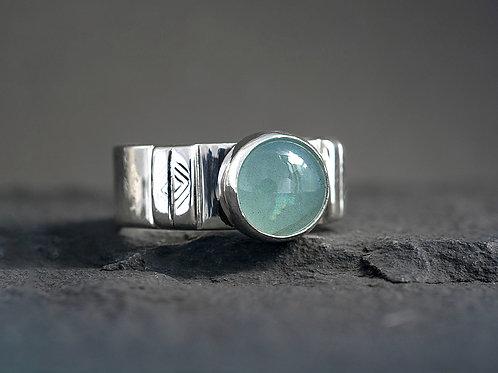 Aquamarine Round Cabochon Silver Statement Ring