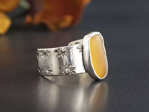 Sea Glass Silver Ring Amber 8 1/2