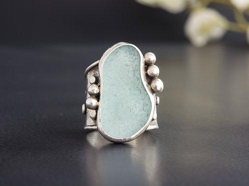 Sea Glass Silver Bezel Aqua Ring Sz 6