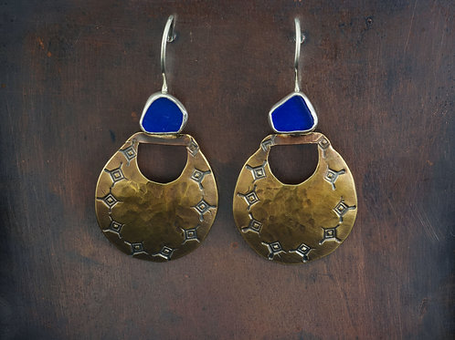 Sterling Silver Brass Sea Glass Cobalt Earrings