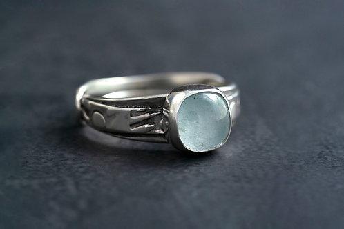 Aquamarine Silver Statement Ring Sz 9