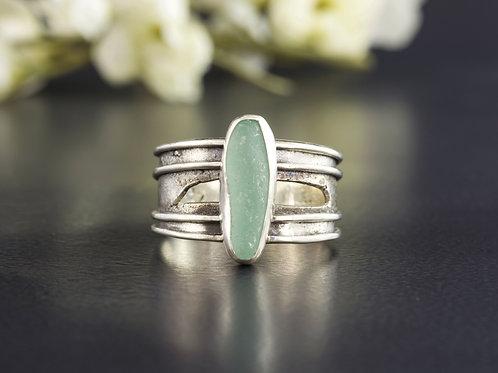Sea Glass Silver Ring Sea Foam Sz 11