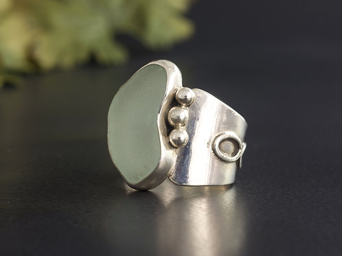 Sea Glass Silver Ring Bezel Sea Foam Sz 7