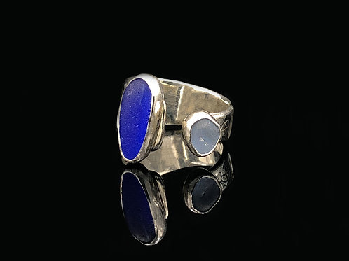 2 Blues Adjustable Sea Glass Ring