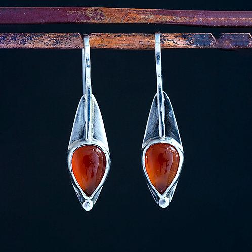 Orange Agate Drop Dangle Earrings