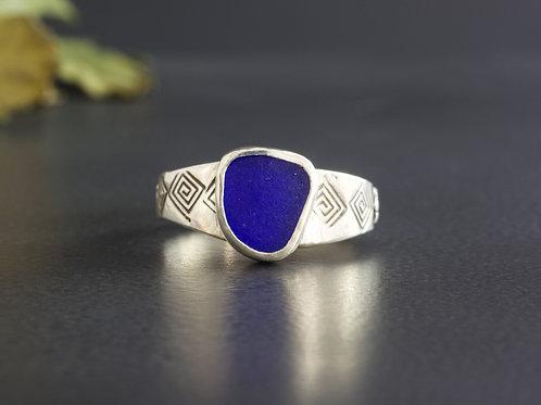 Sea Glass Silver Ring Cobalt Sz 10
