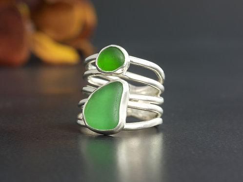 Sea Glass Silver Bezel Greens Sz 5