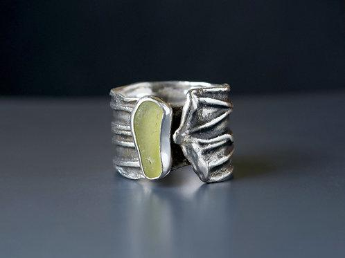 Moss Sea Glass Statement Ring
