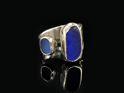 Cobalt and Cornflower Blue Sea Glass Ring
