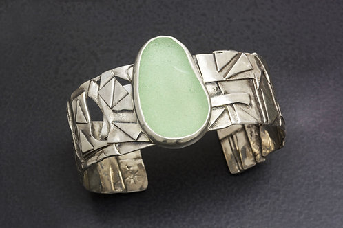 Sea Glass Silver Cuff Sea Foam Sz Sm