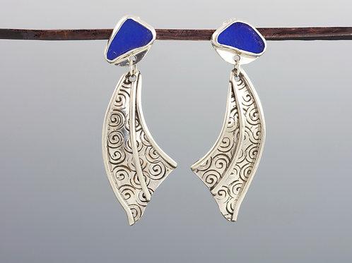 Mermaid Tail Sea Glass Earrings