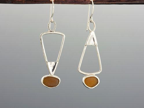 Light Brown Sea Glass Mixed Shape Earrings
