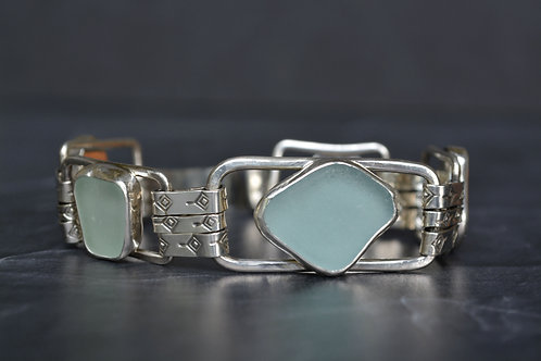 Aqua and Sea Foam Sea Glass Clip Bracelet