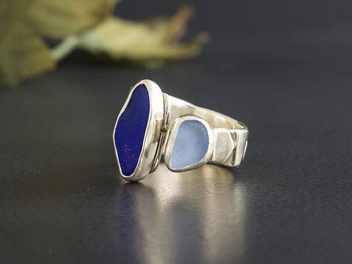 Sea Glass Silver Ring Bezel Blue Sz 7