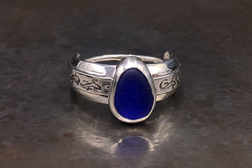 Size 8 1/2 Cobalt Blue Sea Glass Ring