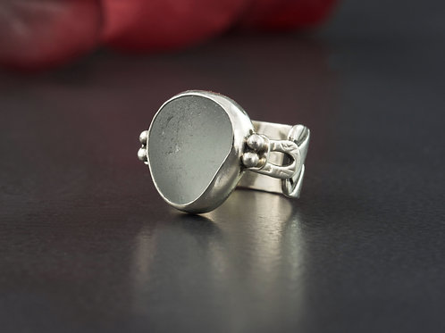 Sea Glass Silver Ring Gray Sz 5