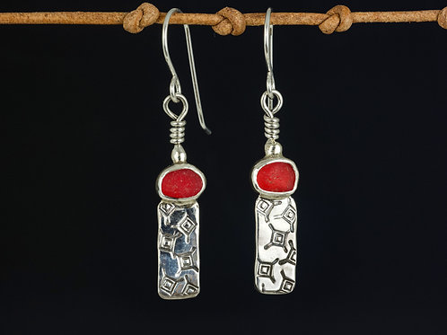 Dangle Earrings with Bright Red Sea Glass